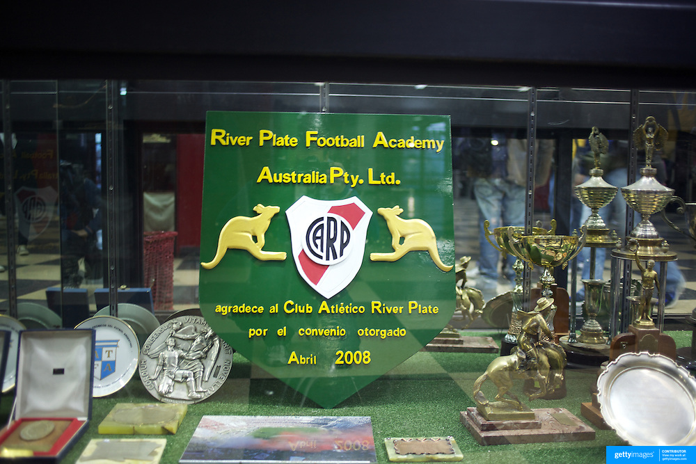 A plaque commemorating a River Plate football academy visit to Australia in the trophy cabinet at River Plates'' El Monumental stadium, Buenos Aires, Argentina, 25th June 2010. Photo Tim Clayton..