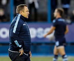 Head Coach John Mulvihill of Cardiff Blues during the pre match warm up<br /> <br /> Photographer Simon King/Replay Images<br /> <br /> Guinness PRO14 Round 4 - Cardiff Blues v Munster - Friday 21st September 2018 - Cardiff Arms Park - Cardiff<br /> <br /> World Copyright © Replay Images . All rights reserved. info@replayimages.co.uk - http://replayimages.co.uk