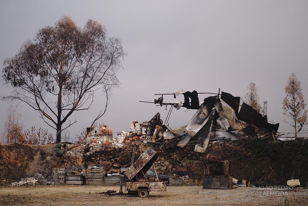 Construction yard between Pedrogão Grande and Figueiró dos Vinhos destroyed by June's fires.