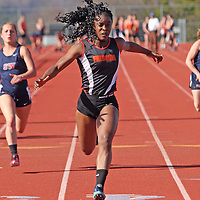 Fredonia's Deidra Osula crosses the finishline in 100 year dash against Southwestern 4-20-16 photo by Mark L. Anderspn