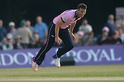 Middlesex bowler Toby Roland-Jones during the NatWest T20 Blast South Group match between Middlesex County Cricket Club and Hampshire County Cricket Club at Uxbridge Cricket Ground, Uxbridge, United Kingdom on 27 May 2016. Photo by David Vokes.