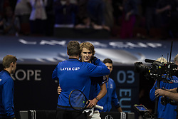 September 22, 2018 - Chicago, Illinois, U.S - Team Europe assistant coach Thomas Enqvist hugs team member ALEXANDER ZVEREV of Germany after ZVEREV'S win during the first singles match between Team Europe and Team World on Day Two of the Laver Cup at the United Center in Chicago, Illinois. (Credit Image: © Shelley Lipton/ZUMA Wire)