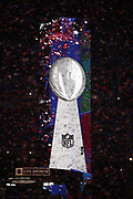 The Lombardi Trophy on display after the New England Patriots win the NFL Super Bowl 53 football game against the Los Angeles Rams on Sunday, Feb. 3, 2019, in Atlanta. The Patriots defeated the Rams 13-3. (©Paul Anthony Spinelli)