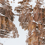 Hadley Hammer drops into the Horseshoe Couloir in the JHMR sidecountry.