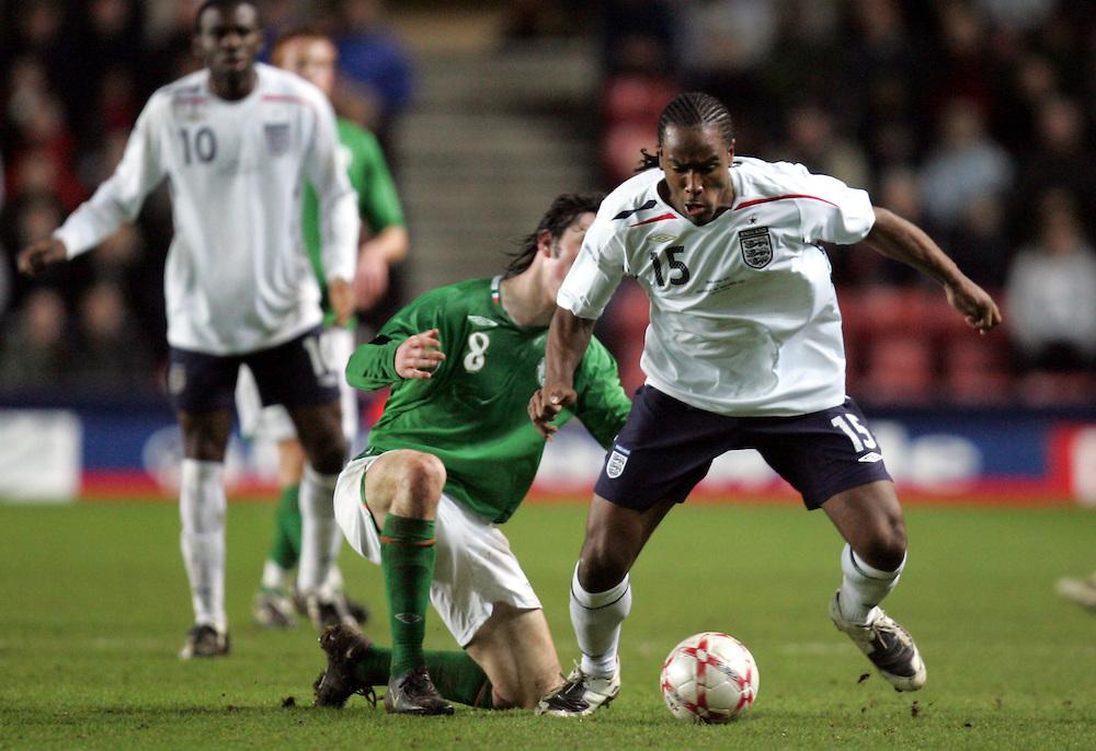 Cameron Jerome of England attacks. England v Republic of Ireland, Uefa Under-21 Championship Qualifier, Tuesday 5th February 2008, St Marys, Southampton.
