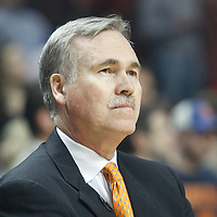 12 March 2012:  New York Knicks head coach Mike D'Antoni is seen prior to the Chicago Bulls 104-99 victory over the New York Knicks at the United Center, Chicago, Illinois, USA.