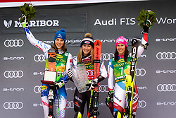 VLHOVA Petra of Slovakia, SHIFFRIN Mikaela of USA and HOLDENER Wendy of Switzerland celebrate on podium during the 6th Ladies' Slalom at 55th Golden Fox - Maribor of Audi FIS Ski World Cup 2018/19, on February 2, 2019 in Pohorje, Maribor, Slovenia. Photo by Blaž Weindorfer / Sportida