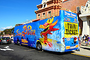 Free curtesy bus at the entrance to Siam Park, Water Kingdom Theme Park, Costa Adeje, Tenerife, Canary Islands, Spain