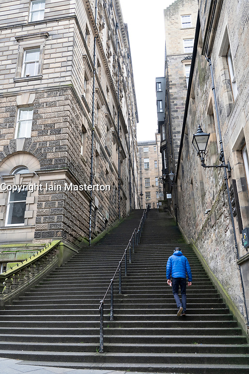 Steep steps of Warriston's Close in Edinburgh  Old Town , Scotland, UK
