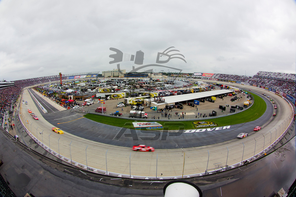 DOVER, DE - OCT 02, 2011:  The NASCAR Sprint Cup Series teams take to the track for the AAA 400 race at the Dover International Speedway in Dover, DE.