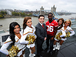26.10.2010, City Hall, London, ENG, NFL, Photocall San Francisco 49ers and 49ers Goldrush Cheerleader, to Promote the NFL Game between Denver Broncos and the San Francisco 49ers to be played at Wembley Stadium, im Bild Jed York owner of the 49ers and player Shawntee Spencer are joined by the Goldrush cheerleaders, with Tower Bridge in the background. EXPA Pictures © 2010, PhotoCredit: EXPA/ IPS/ Sean Ryan +++++ ATTENTION - OUT OF ENGLAND/UK +++++