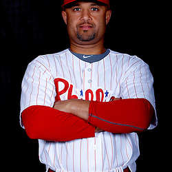 February 22, 2011; Clearwater, FL, USA; Philadelphia Phillies third baseman Placido Polanco (27) poses during photo day at Bright House Networks Field. Mandatory Credit: Derick E. Hingle