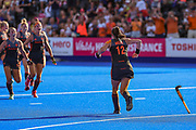Lidewij Welten of the Netherlands (12) turns to celebrate winning the shoot out (3-1) with team mates during the Vitality Hockey Women's World Cup 2018 Semi-Final match between the Netherlands and Australia, at the Lee Valley Hockey and Tennis Centre, QE Olympic Park, United Kingdom on 5 August 2018. Picture by Martin Cole.