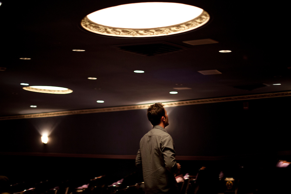 "Iowa magician Nate Staniforth performs magic tricks before discussing his approach to performing before an audience at The Englert Theater in Iowa City, Iowa on Friday, November 6, 2015 during the Witching Hour Festival. ""You can say something with a magic trick that you can't say in any other way,"" says Staniforth."