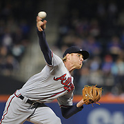NEW YORK, NEW YORK - MAY 02:  Pitcher Mike Foltynewicz #26 of the Atlanta Braves pitching during the Atlanta Braves Vs New York Mets MLB regular season game at Citi Field on May 02, 2016 in New York City. (Photo by Tim Clayton/Corbis via Getty Images)