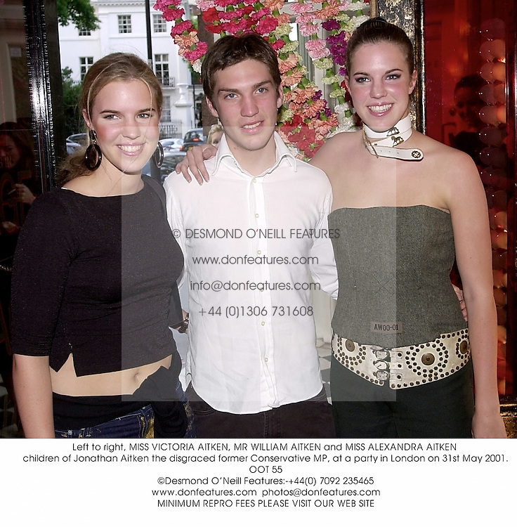 Left to right, MISS VICTORIA AITKEN, MR WILLIAM AITKEN and MISS ALEXANDRA AITKEN children of Jonathan Aitken the disgraced former Conservative MP, at a party in London on 31st May 2001.OOT 55