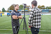 Forest Green Rovers manager, Mark Cooper being interviewed ahead the The FA Cup 4th qualifying round match between Sutton United and Forest Green Rovers at Gander Green Lane, Sutton, United Kingdom on 15 October 2016. Photo by Shane Healey.