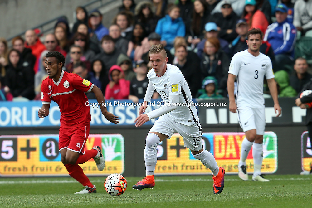 All Whites Monty Patterson makes a break. 2018 FIFA World Cup Russia Qualifier, New Zealand v New Caledonia, QBE Stadium Auckland, Saturday 12th November 2016. Copyright Photo: Shane Wenzlick