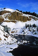 Yellowstone River in winter near Tower Falls. Yellowstone National Park, Wyoming