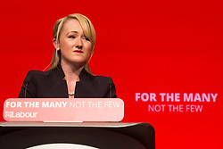 26/09/2017. Brighton, UK. Shadow Secretary of State for Business, Energy and Industrial Strategy and Salford and Eccles MP REBECCA LONG BAILEY speaks on the third day of the 2017 Labour Party Conference in Brighton. Photo credit: Hugo Michiels/LNP
