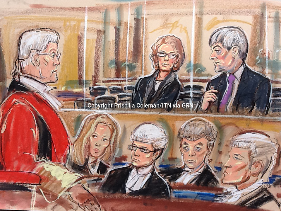 Chris Huhne and his ex-wife Vicky Pryce exchanged strained smiles and muttered under their breath as they appeared before crown court judge Justice Saunders for the first time.