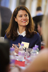 © Licensed to London News Pictures. 17/10/2013 London, UK. Miriam Gonzalez Durantez, wife of Deputy Prime Minister Nick Clegg hosts a speed networking event  at Lancaster House, London for 100 girls from state secondary schools to launch a national campaign, which will see 15,000 women going into secondary schools to speak to pupils about career choices. Participants also include, BBC journalist and presenter Fiona Bruce, and Mumsnet co-founder Carrie Longton and easyjet CEO Carolyn McCall.<br /> Photo credit : Simon Jacobs/LNP