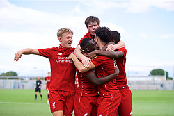 NAPLES, ITALY - Wednesday, October 3, 2018: Liverpool's Bobby Adekanye (C) celebrates scoring the first goal with team-mates during the UEFA Youth League Group C match between S.S.C. Napoli and Liverpool FC at Stadio Comunale di Frattamaggiore. (Pic by David Rawcliffe/Propaganda)