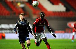 Famara Diedhiou of Bristol City competes with Kilian Ludewig of Barnsley-Mandatory by-line: Nizaam Jones/JMP - 18/01/2020 - FOOTBALL - Ashton Gate - Bristol, England - Bristol City v Barnsley - Sky Bet Championship