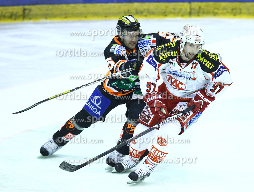 07.12.2012, Eisstadion Liebenau, Graz, AUT, EBEL, Graz 99ers vs EC KAC, 28. Runde, im Bild Sam Gagner (EC KAC, #97) und Dustin VanBallegooie (99ers, #5) // during the Erste Bank Icehockey League 28th Round match betweeen Graz 99ers and EC KAC at the Icehockey Stadium Liebenau, Graz, Austria on 2012/12/07. EXPA Pictures © 2012, PhotoCredit: EXPA/ Patrick Leuk