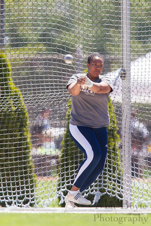 The College of New Jersey's Joan Hales competes in the women's hammer throw at the NJAC Track and Field Championships at Richard Wacker Stadium on the campus of  Rowan University  in Glassboro, NJ on Saturday May 4, 2013. (photo / Mat Boyle)