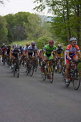 The peloton climbs an early hill near Charlottesville.  Stage 7, the final stage of the Tour of Virginia, started and finished just off of Charlottesville's historic downtown mall on April 29, 2007.  The stage took country roads through Albemarle and Buckingham Counties, passing through the University of Virginia, the town of Scottsville, and Thomas Jefferson's Monticello before finishing in a series of circuits around downtown Charlottesville, VA.