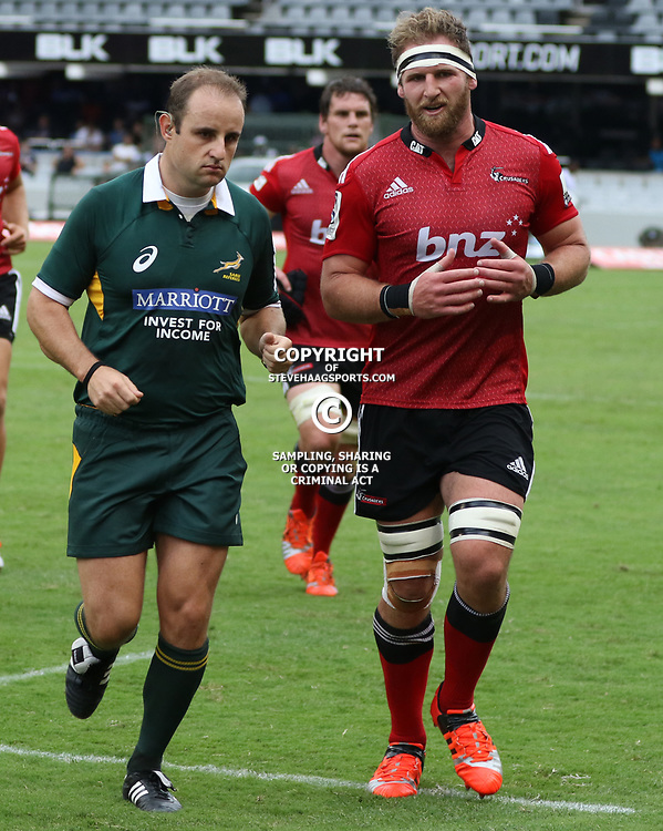 DURBAN, SOUTH AFRICA - APRIL 04: Referee:Stuart Berry (South Africa) with Kieran Read (c) of the Crusaders   during the Super Rugby match between Cell C Sharks and Crusaders at Growthpoint Kings Park on April 04, 2015 in Durban, South Africa. (Photo by Steve Haag/Gallo Images)