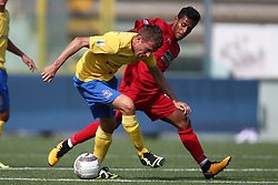 October 1, 2017 - Teramo, TE, Italy - Arturo Luppoli of Fermana Football Club compete for the ball with Kevin Varas of Teramo Calcio 1913 during the Lega Pro 17/18 group B match between Teramo Calcio 1913 and Fermana Football Club at Gaetano Bonolis stadium on October 01, 2017 in Teramo, Italy. (Credit Image: © Danilo Di Giovanni/NurPhoto via ZUMA Press)