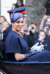 June 8, 2019 - London, England, United Kingdom - PRINCE HARRY and new mother MEGHAN MARKLE, The Duke and Duchess of Sussex, ride in an open carriage for Trooping the Colour, Queen's annual birthday parade. (Credit Image: © Dinendra Haria/London News Pictures via ZUMA Wire)