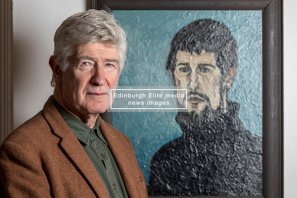 Edinburgh's Open Eye Gallery presents an exhibition of portraits by Alexander Moffat OBE RSA timed to coincide with the publication of his monograph, A View of the Nation (Luath Press). With text by Bill Hare, the book charts Moffat's eminent career as a portraitist of the greats of modern Scottish culture. The exhibition includes portraits of poets involved in Hugh MacDiarmid's Scottish Renaissance as well as renowned Scottish artists Alasdair Gray, Adrian Wiszniewski, Peter Howson and Ken Currie.<br /> <br /> The exhibition runs from 10 January 2018 to 29 January 2018.<br /> <br /> Pictured: Alexander (Sandy) Moffat with his 1963 self-portrait, painted whilst he was a third-year student at Edinburgh College of Art
