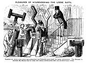 Pleasures of Housekeeping.- The Loose Slate. Somehow or other, ever since the alterations the Chimneys have taken to smoke intolerably. The Builder is assuring Mr. Briggs that by some very simple contrivances they can be effectually cured.