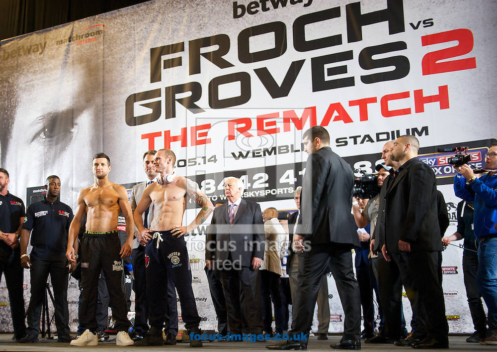 Pictures showing Carl Froch(L) and George Groves  during the Froch v Groves Weigh In at Wembley Arena, London<br /> Picture by Alan Stanford/Focus Images Ltd +44 7915 056117<br /> 30/05/2014