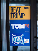 29 JANUARY 2020 - KNOXVILLE, IOWA: The door to a restaurant hosting a campaign event for Tom Steyer in Knoxville, about 40 miles southeast of Des Moines, Wednesday. Steyer, a California businessman, is campaigning to be the Democratic nominee for the US Presidency in 2020. Iowa holds the first selection event of the 2020 election cycle. The Iowa Caucuses are Feb. 3, 2020.          PHOTO BY JACK KURTZ