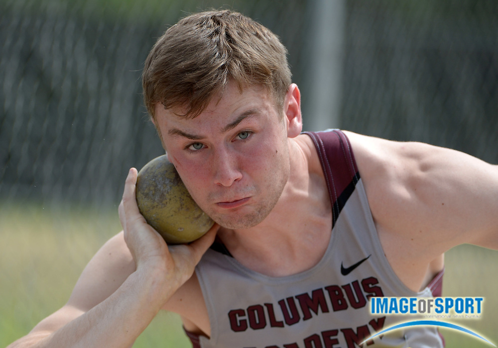 Apr 10, 2014; Arcadia, CA, USA; John Lint of Columbus Academy (OH) throws 42-3 1/2 (12.89m) in the decathlon shot put in the 47th Arcadia Invitational at Arcadia High.