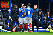 Substitution - John Marquis (10) of Portsmouth replaces Brett Pitman (8) of Portsmouth during the EFL Sky Bet League 1 match between Portsmouth and Gillingham at Fratton Park, Portsmouth, England on 12 October 2019.