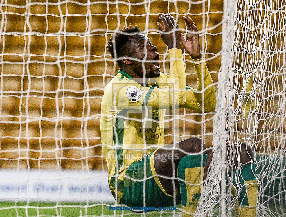 Michee Efete of Norwich City U23 misses a golden chance versus Dinamo Zagreb U23 during the Premier League International Cup Quarter-Final match at Carrow Road, Norwich<br /> Picture by Matthew Usher/Focus Images Ltd +44 7902 242054<br /> 27/02/2017