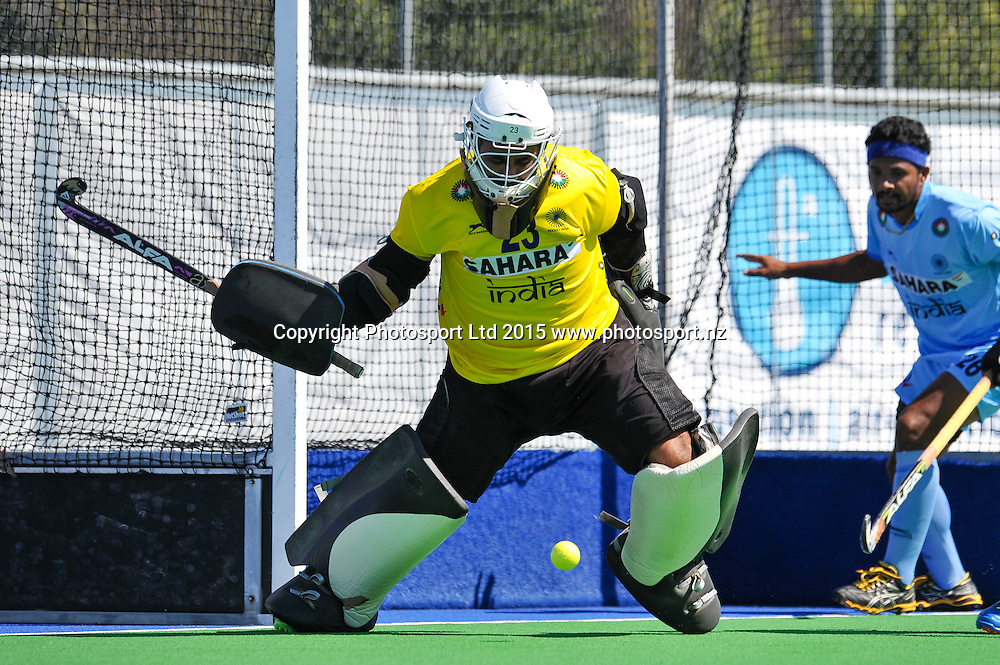 Harjot Singh of India saves a shot on goal during the Mens Hockey International, 2015 South Island Tour game between the New Zealand Black Sticks V India, at Marist Park, Christchurch, on the 11th October 2015. Copyright Photo: John Davidson / www.photosport.nz