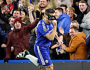 Chelsea defender Cesar Azpilcueta celebrating scoring the first goal of teh game during the Barclays Premier League match between Chelsea and West Bromwich Albion at Stamford Bridge, London, England on 13 January 2016. Photo by Matthew Redman.