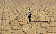 Crosses on a beach in Santa Barbara representing the fallen soldiers of the Irac and Afganistan wars.