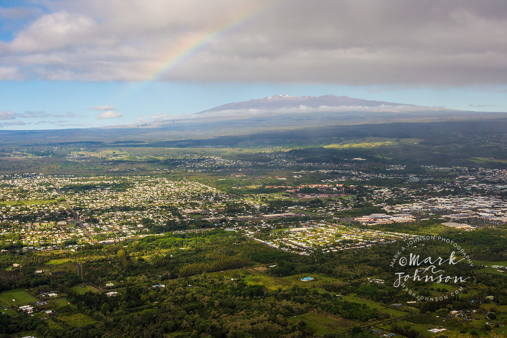Aerial photo of Hilo with Mauna Kea in background, Big Island, Hawaii