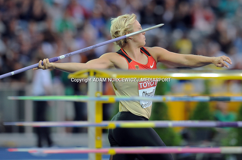 CHRISTINA OBERGFOLL (GERMANY) COMPETES IN JAVELIN WOMEN FINAL ON THE OLYMPIC STADION ( OLIMPIASTADION ) DURING 12TH IAAF WORLD CHAMPIONSHIPS IN ATHLETICS BERLIN 2009..BERLIN , GERMANY , AUGUST 18, 2009..( PHOTO BY ADAM NURKIEWICZ / MEDIASPORT )..PICTURE ALSO AVAIBLE IN RAW OR TIFF FORMAT ON SPECIAL REQUEST.