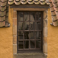 Pane window at The Palace in the historical village of Culross, West Fife, Scotland<br />
