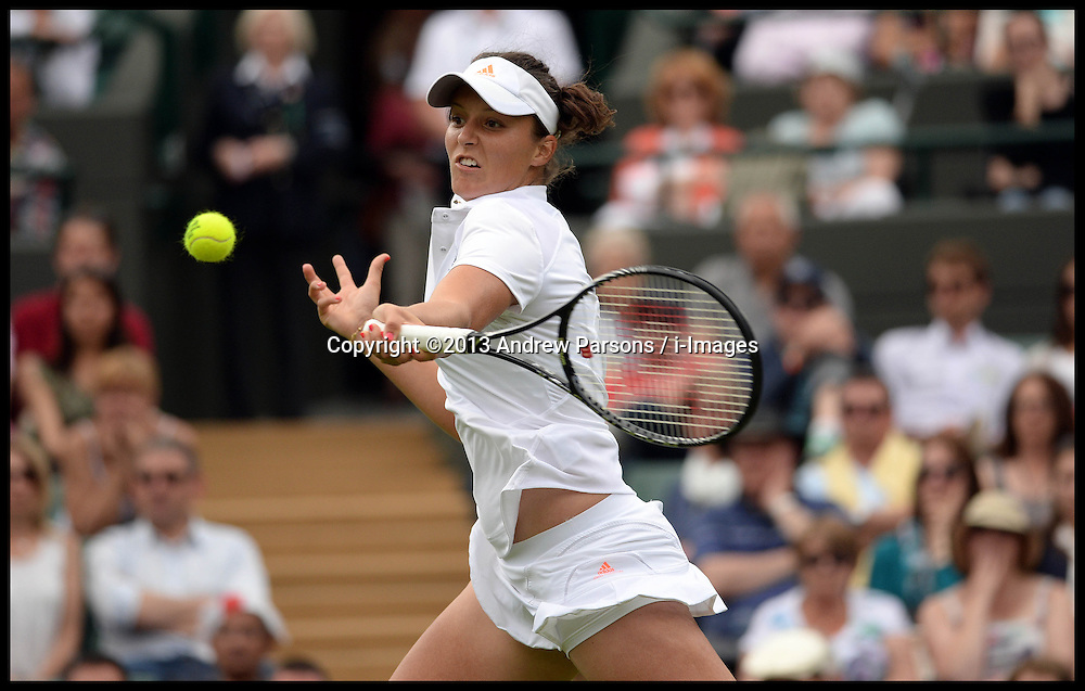 Britain's Laura Robson playing against Maria Kirilenko on court No1 at the Wimbledon Tennis Championships. Robson went onto win the game.<br /> Tuesday, 25th June 2013<br /> Picture by Andrew Parsons / i-Images