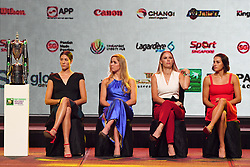 2017?10?20?.??????——WTA????????????..10?20????????????????????? ???·?????????????????·?????????????????·????????????????WTA??????????.???? ??????..Spain's player Garbiñe Muguruza (L1), Ukraine's player Elina Svitolina (L2), Denmark's player Caroline Wozniacki (R2) and France's player Caroline Garcia (R1) attend the WTA Finals official draw ceremony held in Singapore on Oct 20, 2017..By Xinhua, Then Chih Wey..????????????2017?10?20? (Credit Image: © Then Chih Wey/Xinhua via ZUMA Wire)