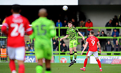 Liam Kitching of Forest Green Rovers heads the highball - Mandatory by-line: Nizaam Jones/JMP - 08/02/2020 - FOOTBALL - New Lawn Stadium - Nailsworth, England - Forest Green Rovers v Walsall - Sky Bet League Two